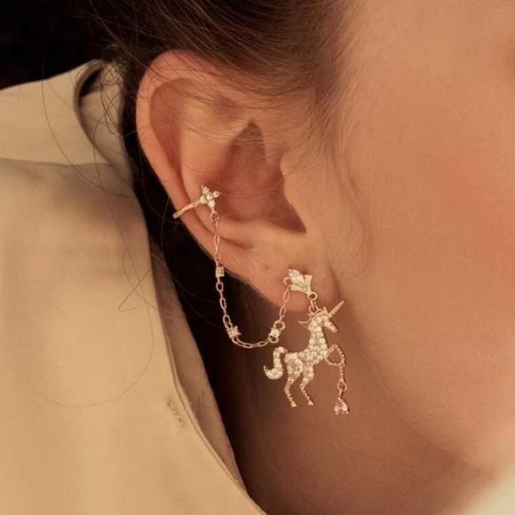 🆕 3/$35 Rhinestone Gold Unicorn Earrings